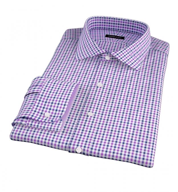 Purple and Navy Gingham Men's Dress Shirt