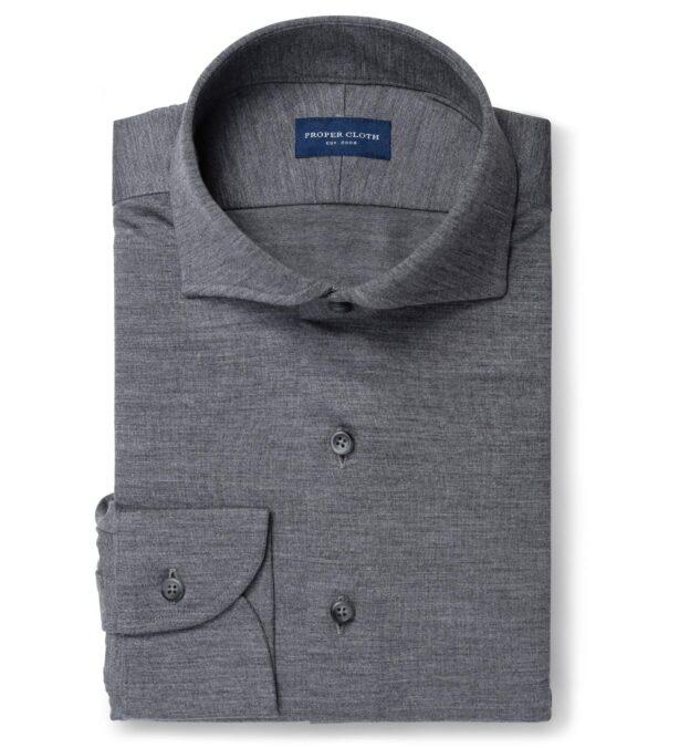 Reda Grey Melange Merino Wool Jersey Knit