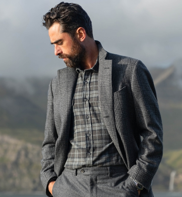 Canclini Grey and Moss Plaid Beacon Flannel