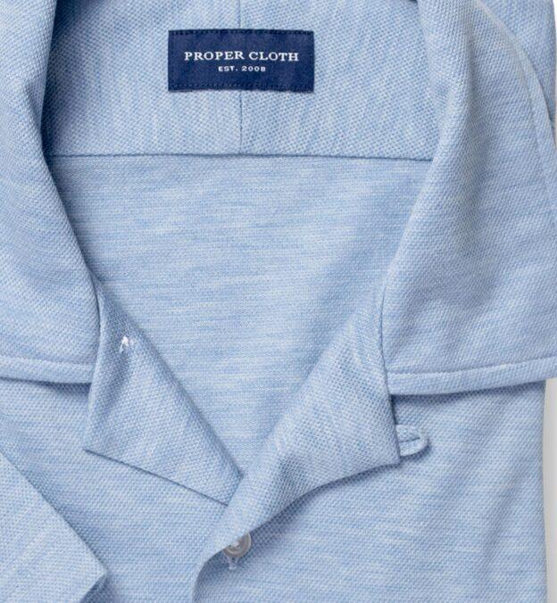 Canclini Melange Blue Knit Pique