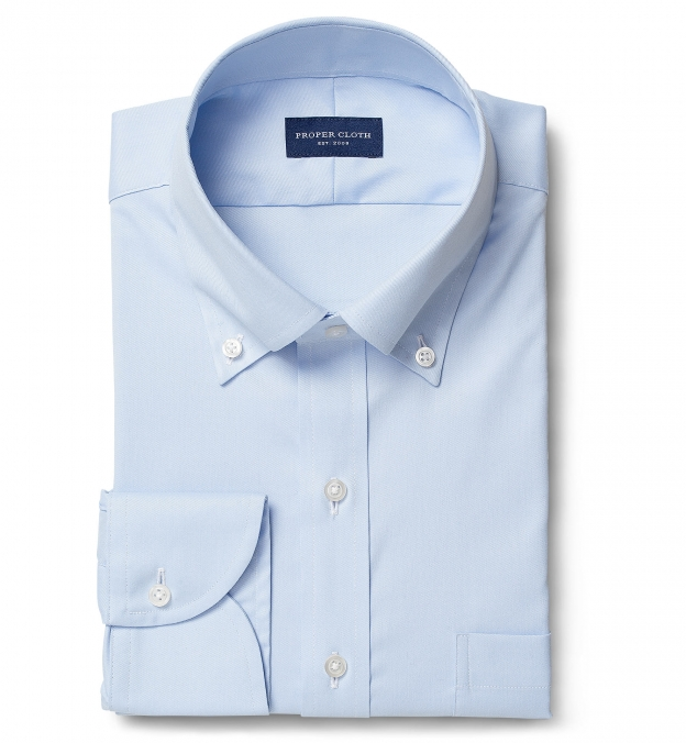 Cooper Light Blue Stretch Twill Fitted Dress Shirt