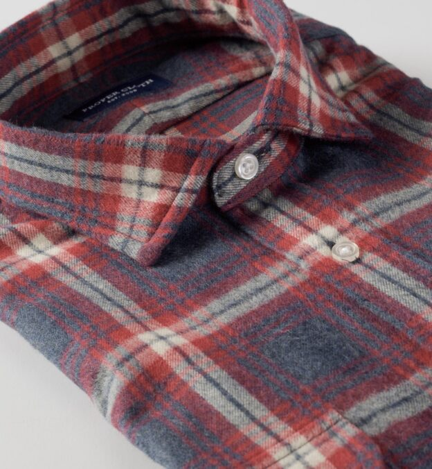 Japanese Slate and Red Shaggy Plaid Flannel