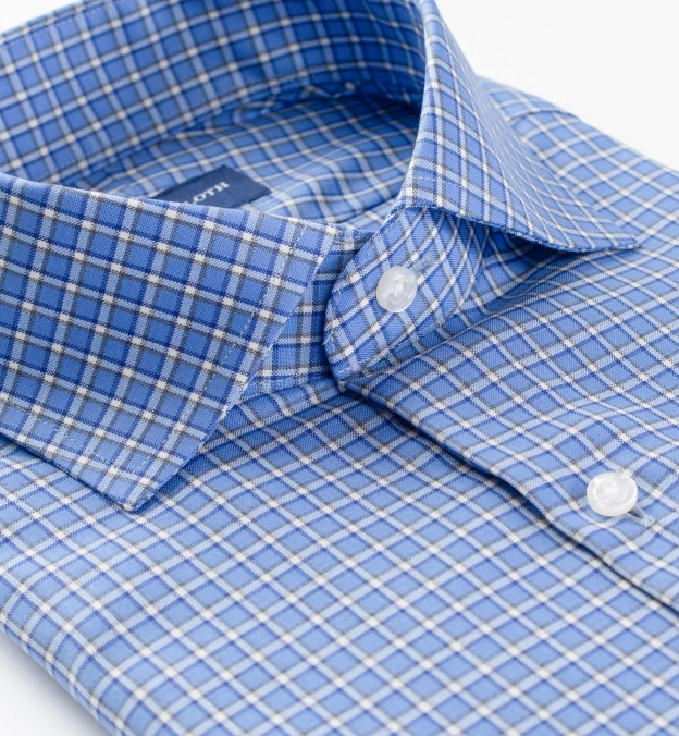 Reda Blue Small Check Merino Wool