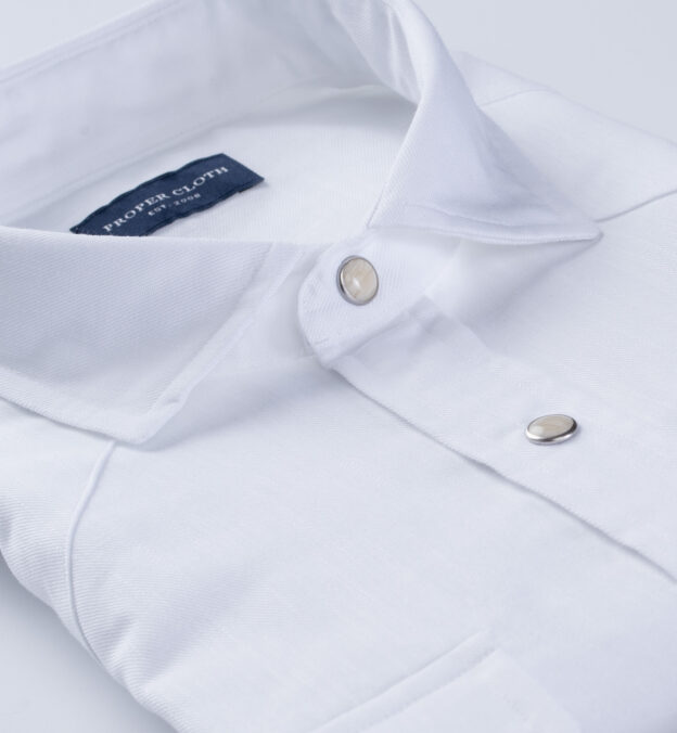 Thomas Mason White Cotton Linen Denim