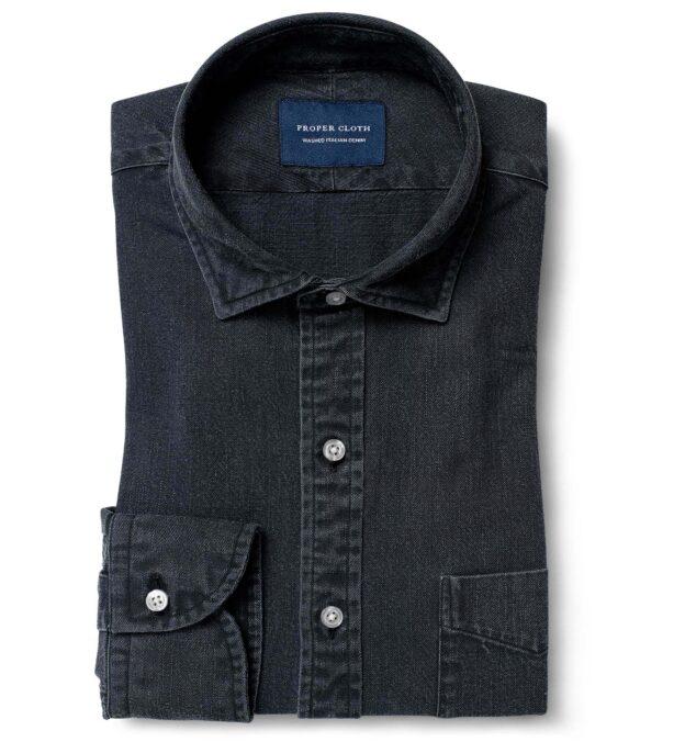 Albiate Washed Black Slub Denim Custom Dress Shirt