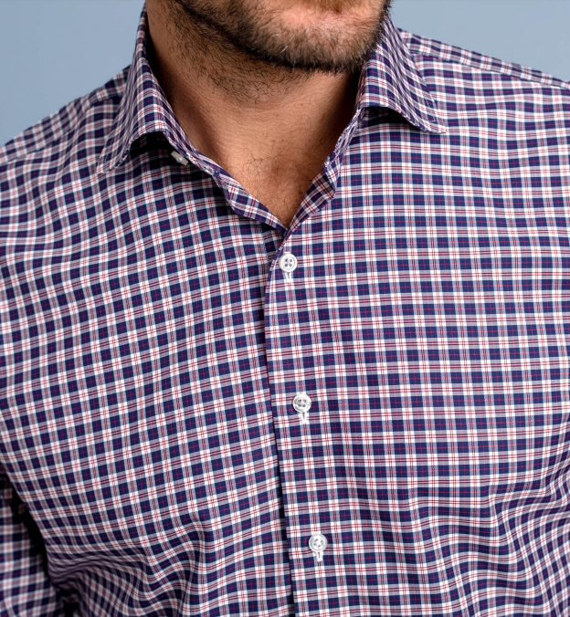 Thomas Mason Non-Iron Navy and Red Multi Check