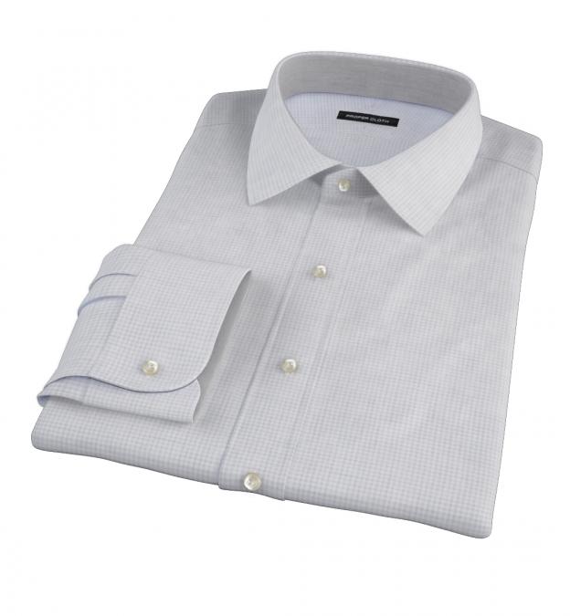 Canclini Grey Melange Grid Fitted Shirt