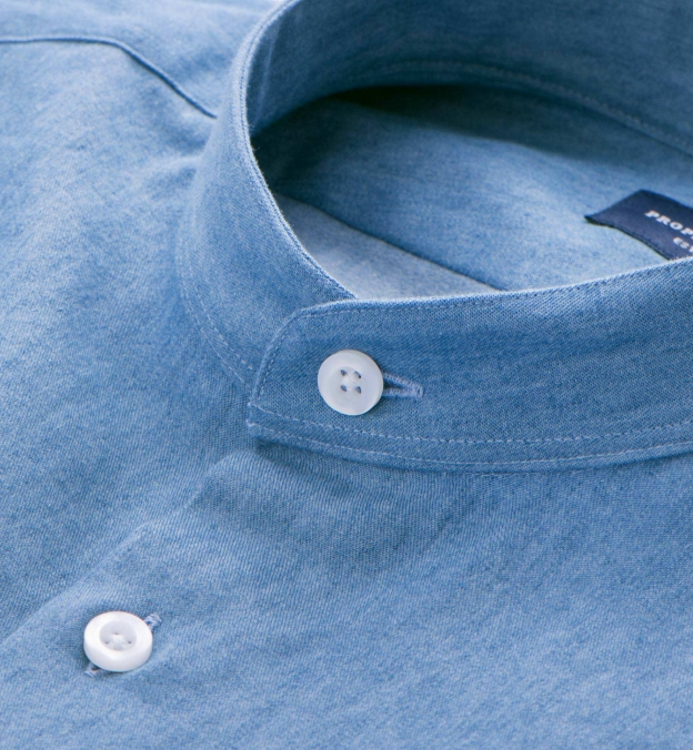 Light Wash Denim Band Collar