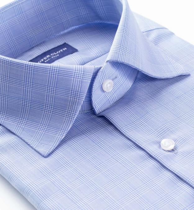 Reda Light Blue Glen Plaid Merino Wool