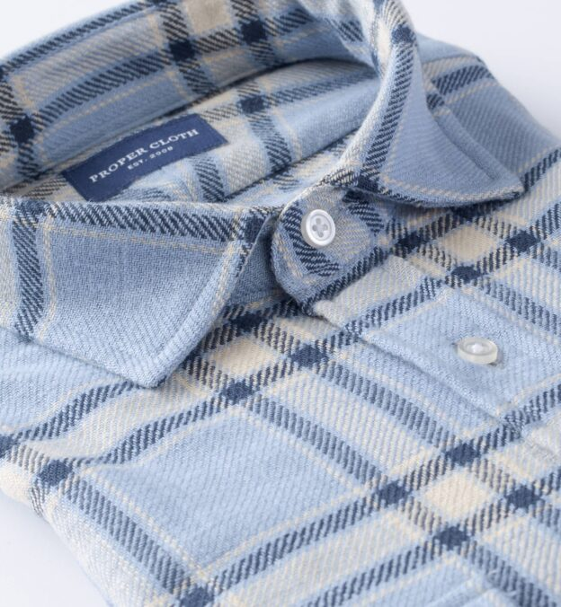 Japanese Washed Light Blue and Natural Country Plaid