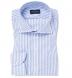 Albini Blue Stripe Comfort Chambray Popover Shirt Thumbnail 1