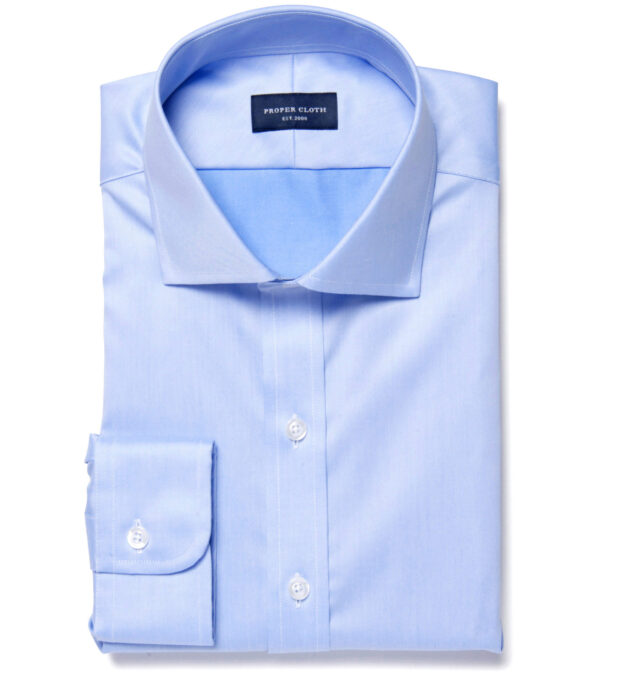 Hudson Wrinkle-Resistant Blue Twill Custom Dress Shirt