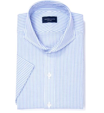 Portuguese Blue Stripe Seersucker Men s Dress Shirt by Proper Cloth 1026b3c4c