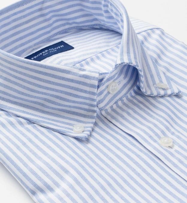 Blue University Stripe Heavy Oxford Soft Ivy Button Down