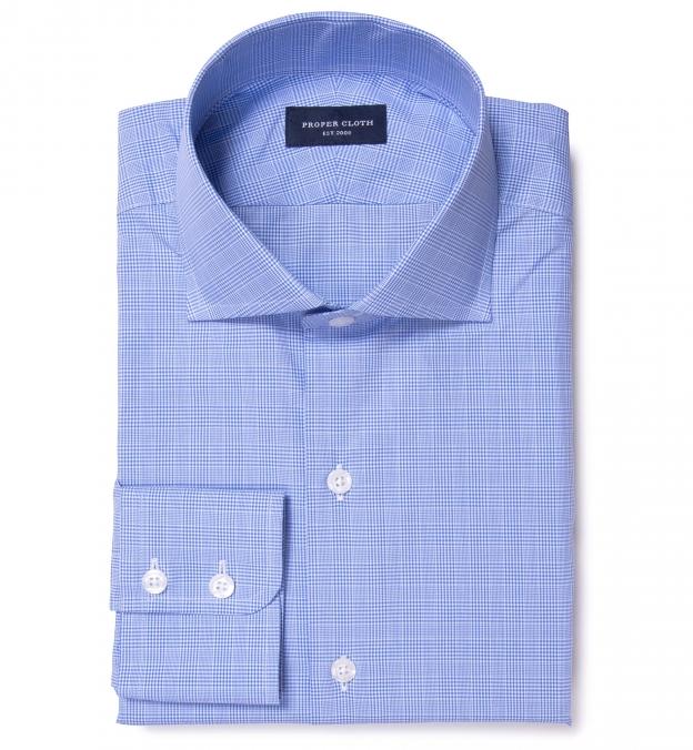 Carmine Light Blue Glen Plaid Men's Dress Shirt