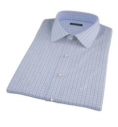 Thomas Mason Blue End on End Check Short Sleeve Shirt
