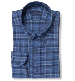 Tonal Blue Cotton and Linen Plaid
