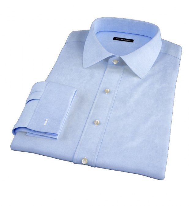 Light Blue Cavalry Twill Herringbone Dress Shirt