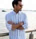 Portuguese Light Blue Extra Wide Stripe Cotton Linen Oxford Shirt Thumbnail 3