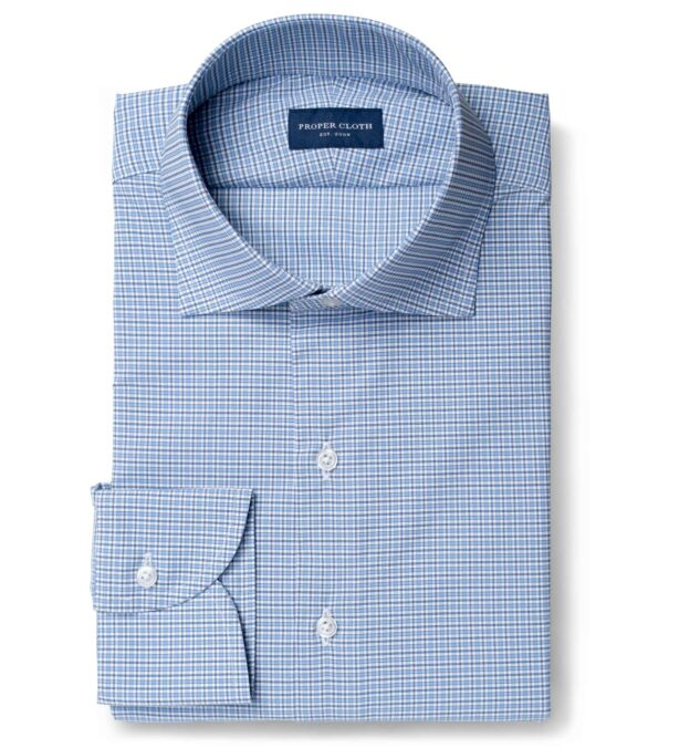 Performance Light Blue and Navy Small Check