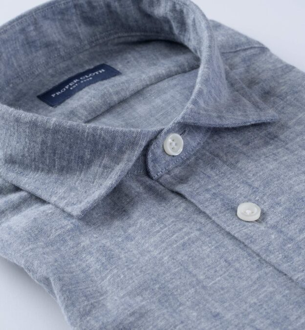 Portuguese Brushed Slate Chambray