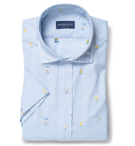Albiate Washed Light Blue Cocktail Embroidered Pinpoint