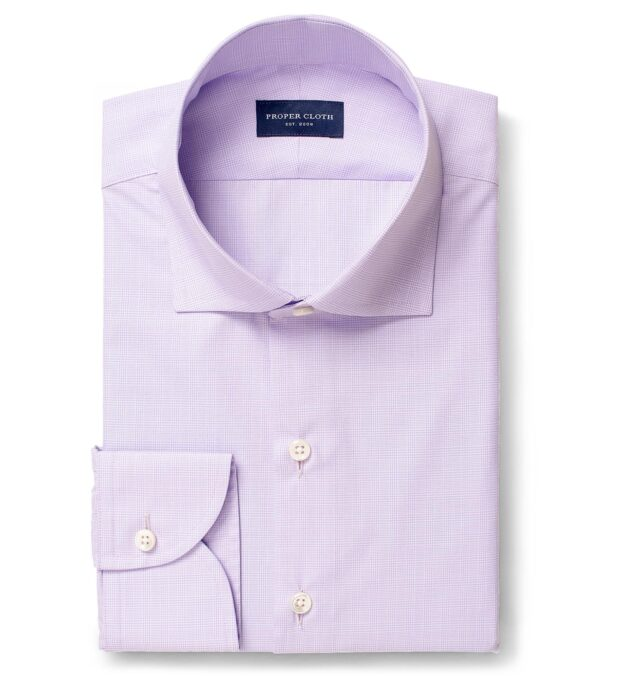 Thomas Mason Goldline Lavender Micro Glen Plaid Twill