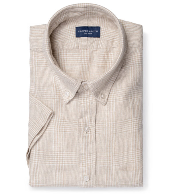 Di Sondrio Beige Natural Dye Glen Plaid Linen