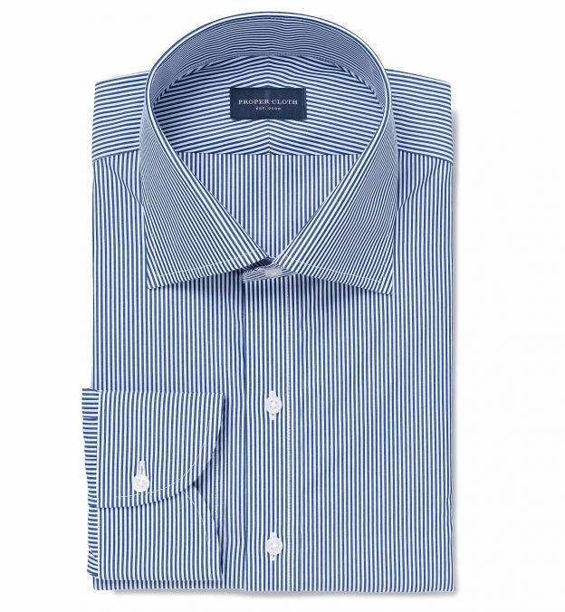 140s Navy Wrinkle-Resistant Pencil Stripe Men's Dress Shirt