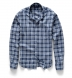 Portuguese Washed Navy and Slate Large Plaid Linen Shirt Thumbnail 3