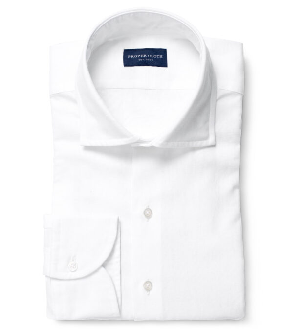 Portuguese White Cotton Linen Oxford Fitted Dress Shirt