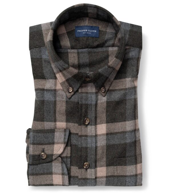 Canclini Pine Grey and Camel Shadow Plaid Beacon Flannel
