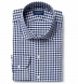 Performance Navy Blue Gingham Shirt Thumbnail 1