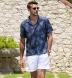 Albini Navy Pineapple Print Linen Shirt Thumbnail 2