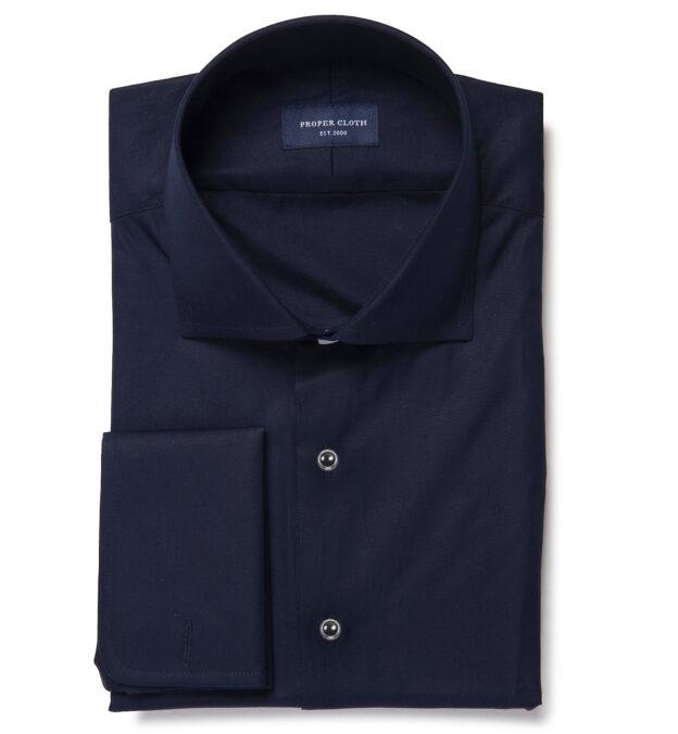 Mercer Navy Broadcloth Tailor Made Shirt
