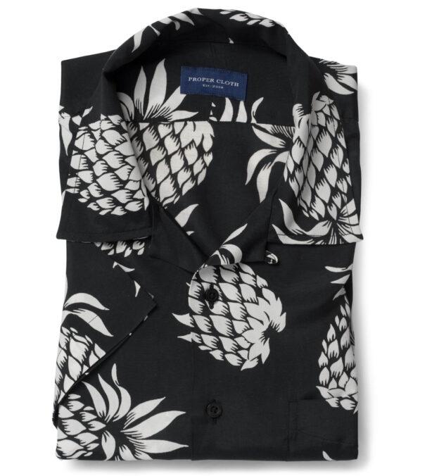 Japanese Black and White Pineapple Print Rayon