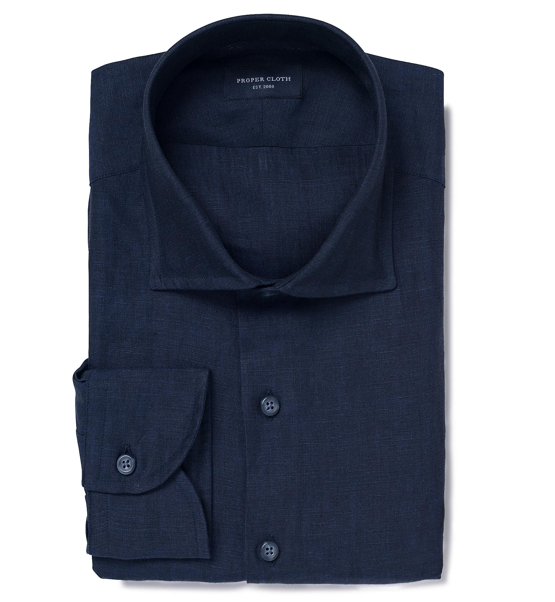 Grandi And Rubinelli Washed Navy Linen Tailor Made Shirt