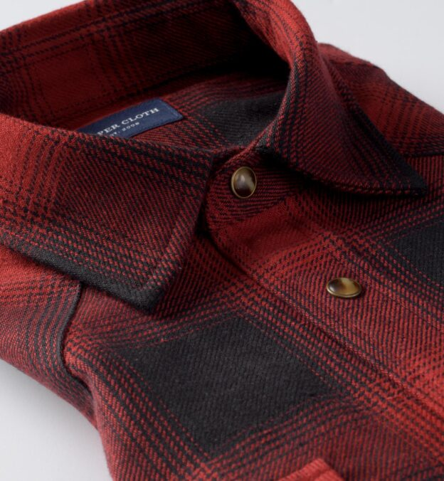 Japanese Black and Red Heavy Ombre Plaid