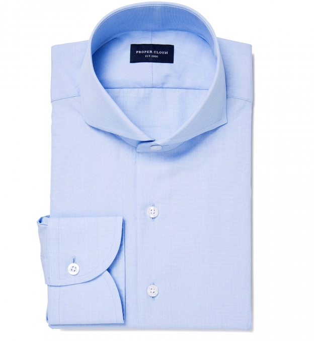 Miles 120s Light Blue End-on-End Cutaway Collar