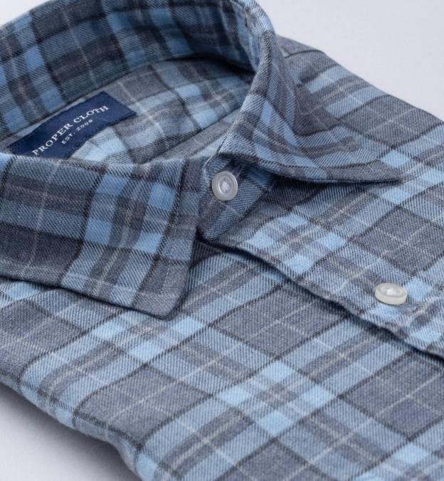 Satoyama Light Blue and Slate Plaid Flannel