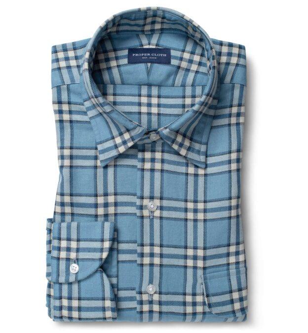 Blue Vintage Plaid Cotton Linen Blend