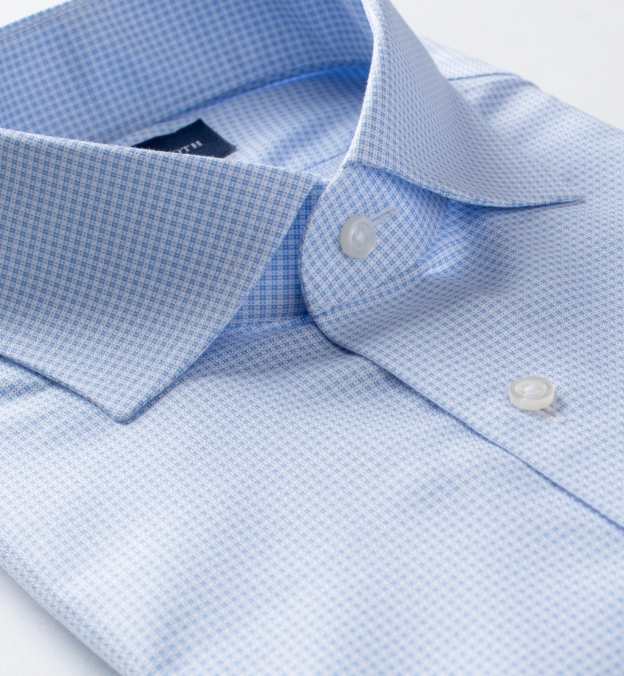 Non-Iron Light Blue Mini Check Dobby