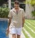 Beige Terry Cloth Knit Shirt Thumbnail 2