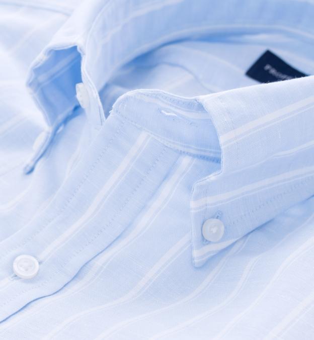 Portuguese Light Blue Vintage Stripe Cotton Linen Blend