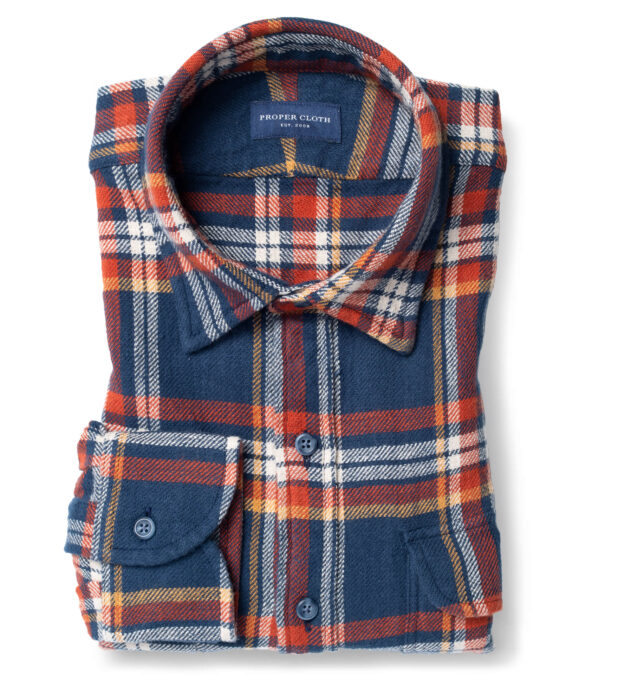 Japanese Washed Navy Gold and Faded Red Country Plaid