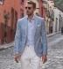Non-Iron Stretch Grey and Light Blue Glen Plaid Shirt Thumbnail 3