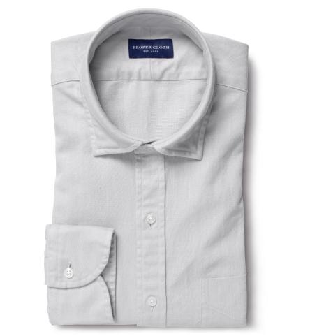 f641fa44c3b Albiate Washed Light Grey Cotton Linen Denim Men s Dress Shirt by ...