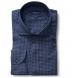 Albini Slate Blue Tonal Gingham Tencel Shirt Thumbnail 1
