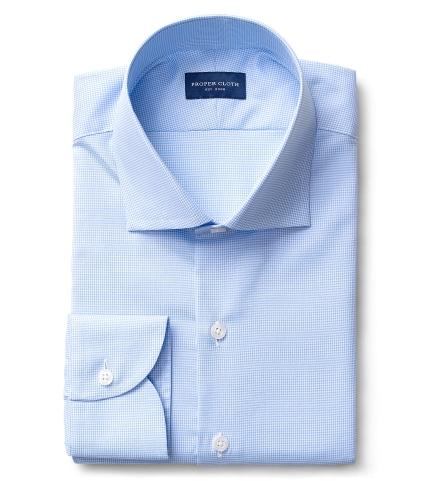 Morris Light Blue Wrinkle-Resistant Houndstooth