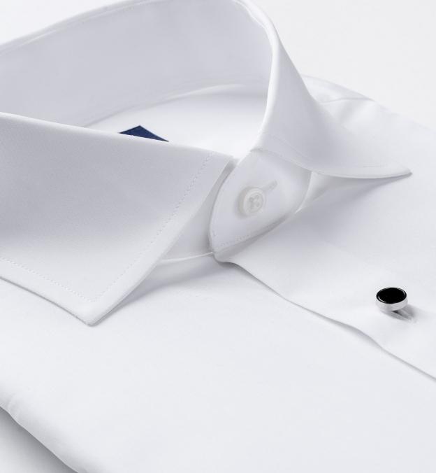 DJA Sea Island White Broadcloth Tuxedo Front Plain